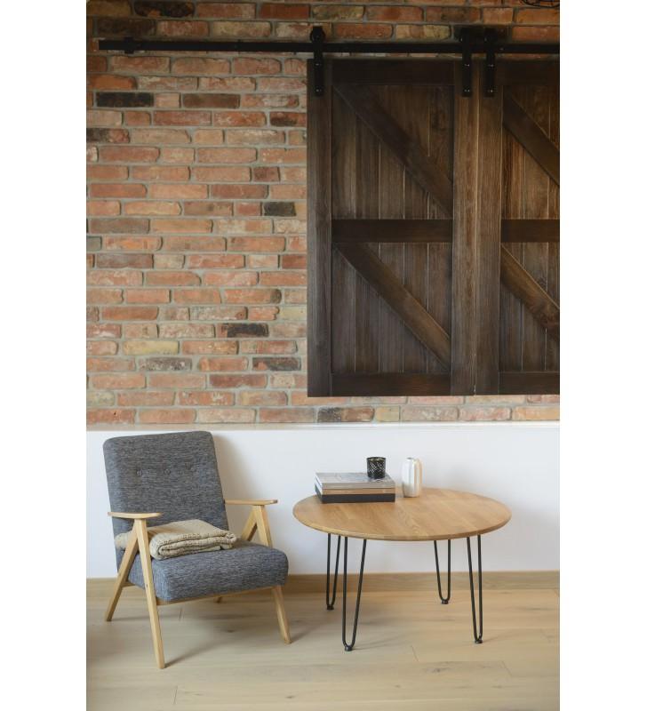 Okrągły stolik dębowy ze stalowymi nóżkami, średnica 70 cm, wys. 47,5 cm Iron Oak