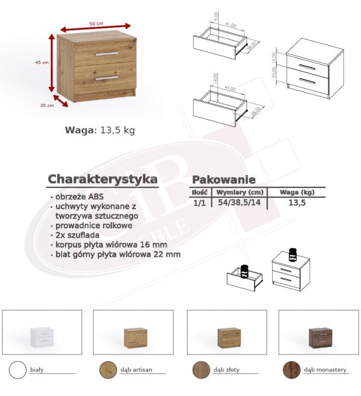 Zestaw mebli do sypialni BONO 4 dostępny w kilku wersjach kolorystycznych