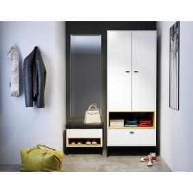 Szafa z siedziskiem i lustrem do przedpokoju Olier 7 w kolorze białym lub brązowym