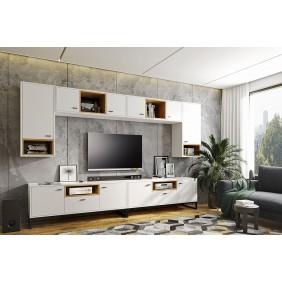 Zestaw mebli do salonu Olier 8 w kolorze białym lub brązowym