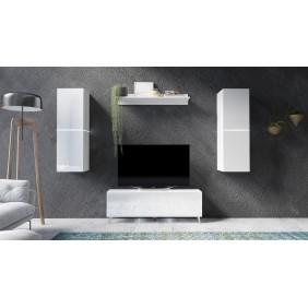 Biały lub biało-brązowy zestaw mebli do salonu Domino 2