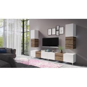 Zestaw mebli do salonu Domino 6 w kolorze białym lub białym z brązowymi wstawkami