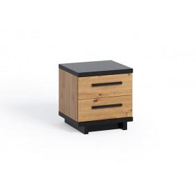 Brązowo-czarna szafka nocna z kolekcji Ines