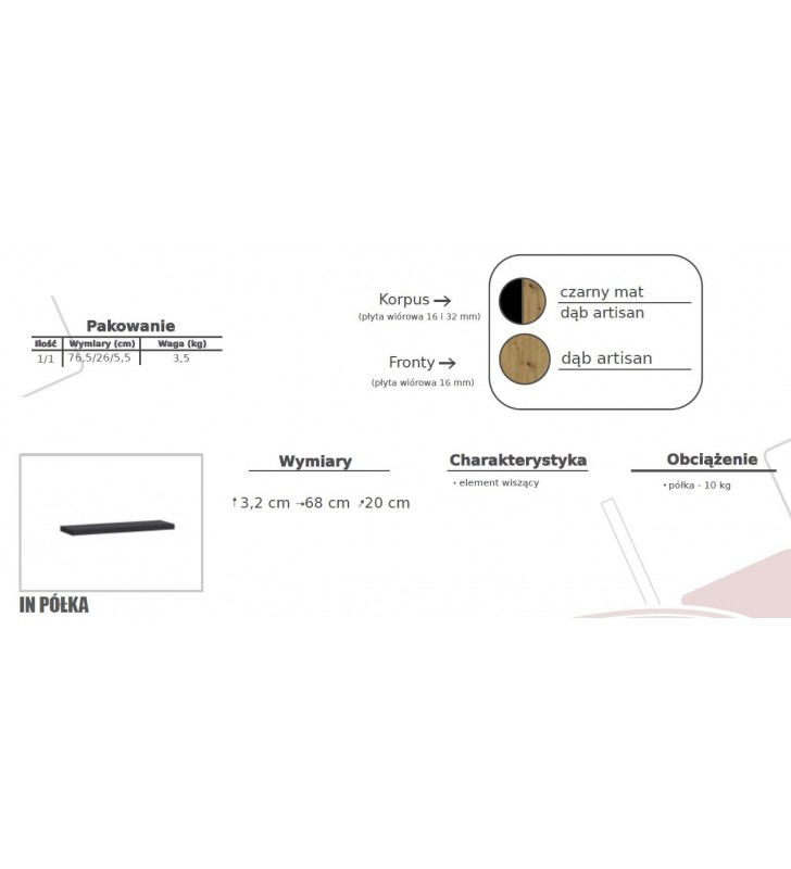 Zestaw brązowo-czarnych mebli do salonu Ines 1