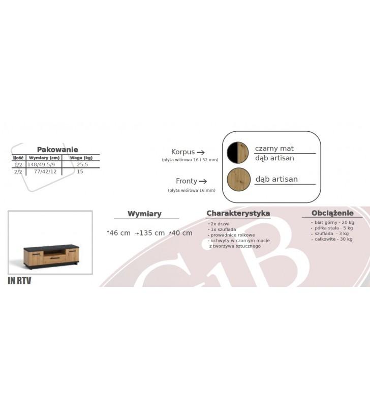 Zestaw brązowo-czarnych mebli do salonu Ines 2