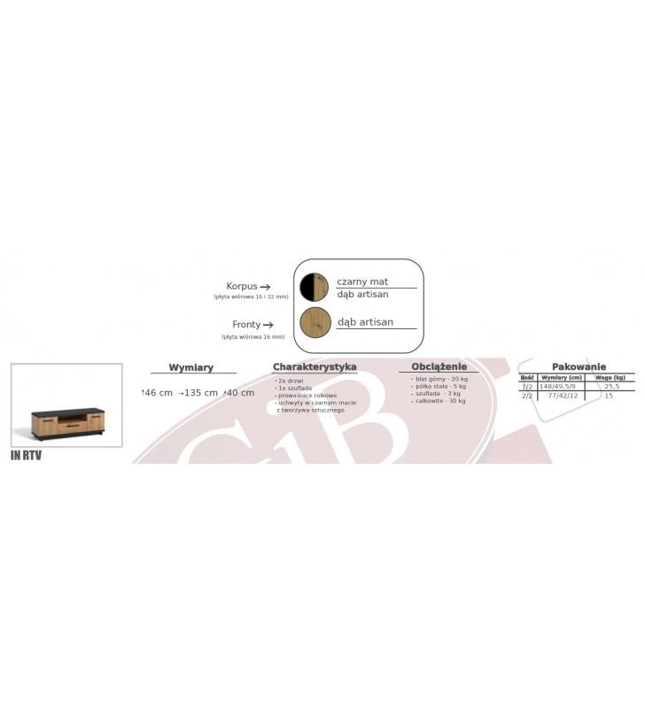 Zestaw brązowo-czarnych mebli do salonu Ines 8