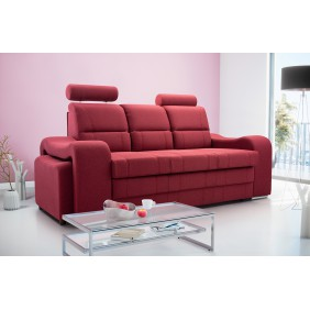 Czerwona, rozkładana sofa z pojemnikiem na pościel i dwiema pufami Wenus