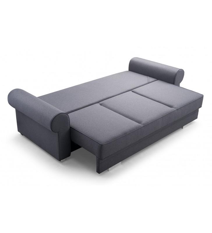 Szara, rozkładana sofa z pojemnikiem na pościel Bukiet malmo95