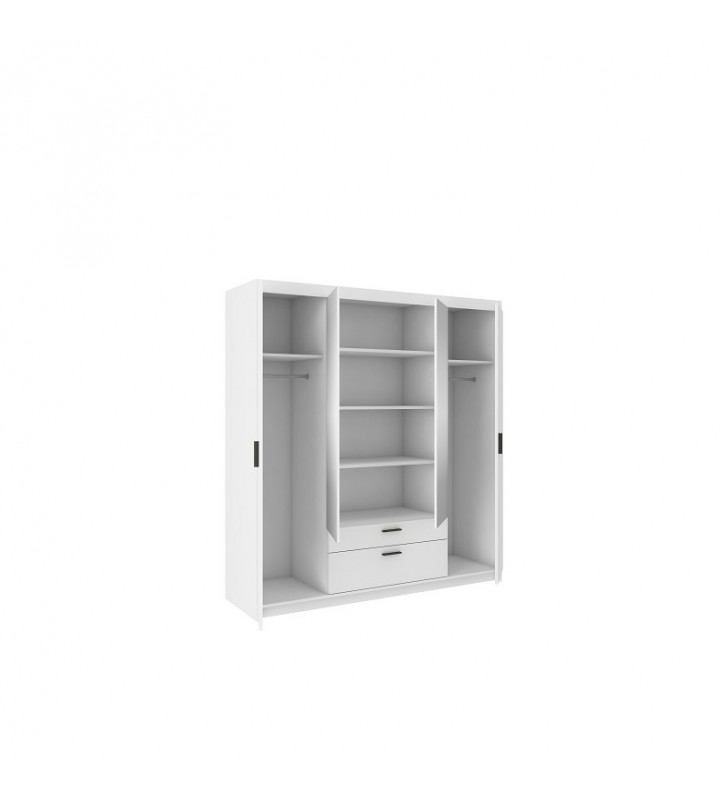 Biała, czterodrzwiowa szafa ELENA 4D z dostępną nadstawką