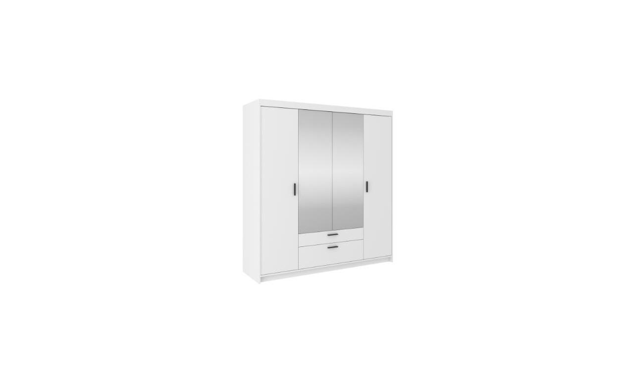 Biała, czterodrzwiowa szafa z lustrem ELENA 4D z dostępną nadstawką