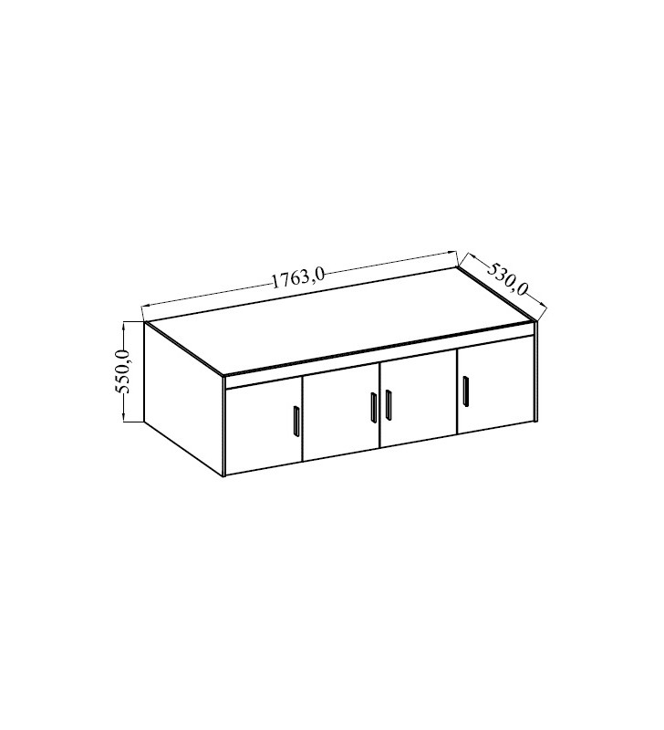 Brązowa, czterodrzwiowa szafa ELENA 4D z dostępną nadstawką