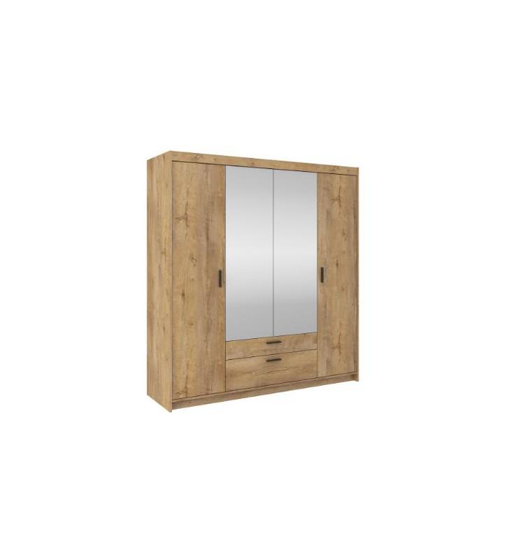 Brązowa, czterodrzwiowa szafa z lustrem ELENA 4D z dostępną nadstawką