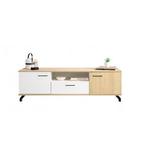 Biało lub czarno-brązowy szeroki stolik RTV Madison MD7