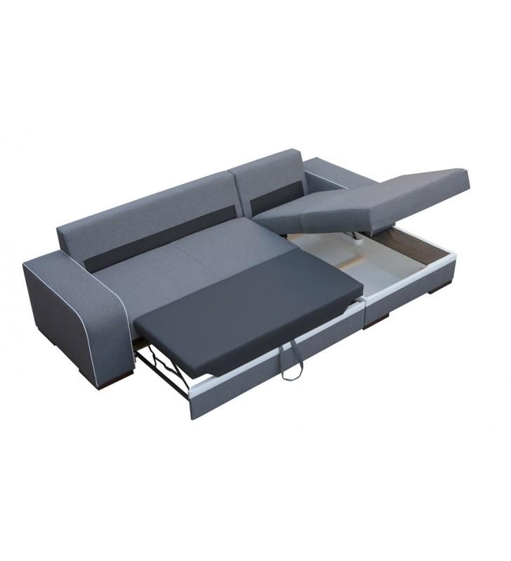 Czarny narożnik z funkcją spania i pojemnikiem na pościel Finn (inari100+soft17)