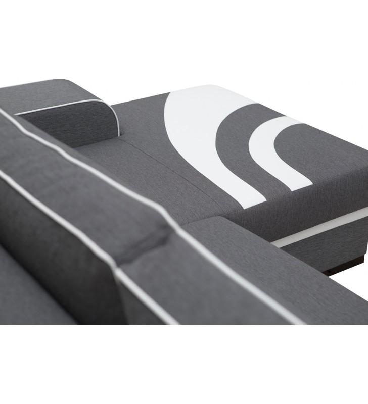 Czarny narożnik z funkcją spania i pojemnikiem na pościel Flores (inari100+hc51)