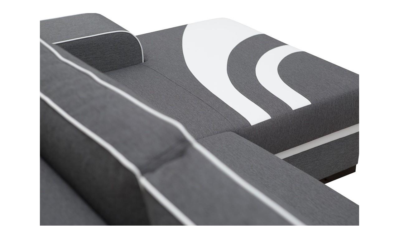 Czarny narożnik z funkcją spania i pojemnikiem na pościel Flores (inari100+soft17)