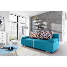 Turkusowa, rozkładana sofa z pojemnikiem na pościel KS1a19