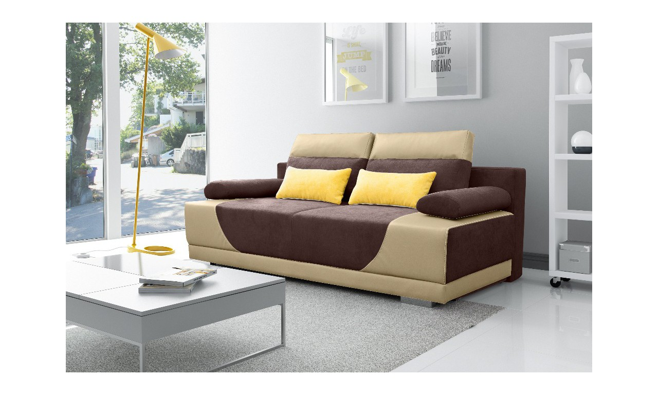 Brązowa, rozkładana sofa z pojemnikiem na pościel Gregory