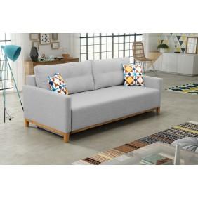 Szara, rozkładana sofa z pojemnikiem na pościel KS5m83