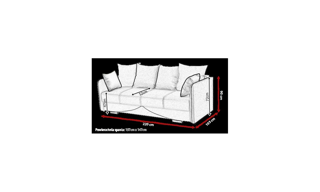 Jasnoszara, rozkładana sofa z pojemnikiem na pościel Iga