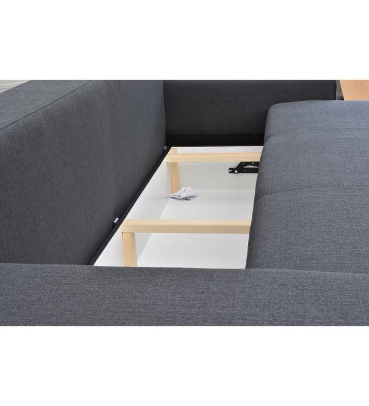 Brązowa, rozkładana sofa z pojemnikiem na pościel Sofia