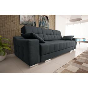 Czarna, rozkładana sofa z pojemnikiem na pościel KS12s14