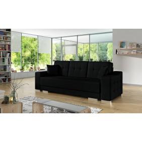 Czarna, rozkładana sofa z pojemnikiem na pościel KS13t16