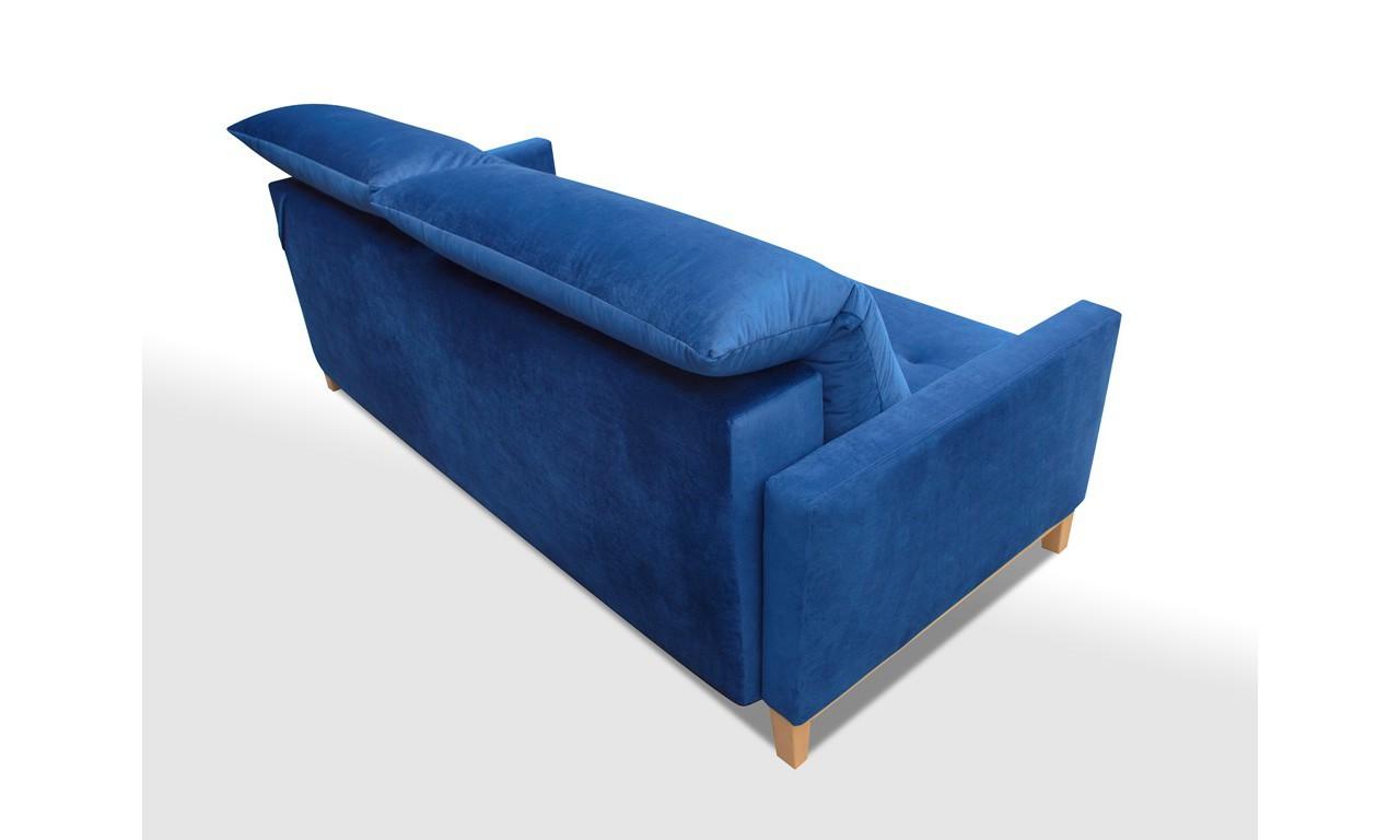Niebieska, rozkładana sofa z pojemnikiem na pościel Azja