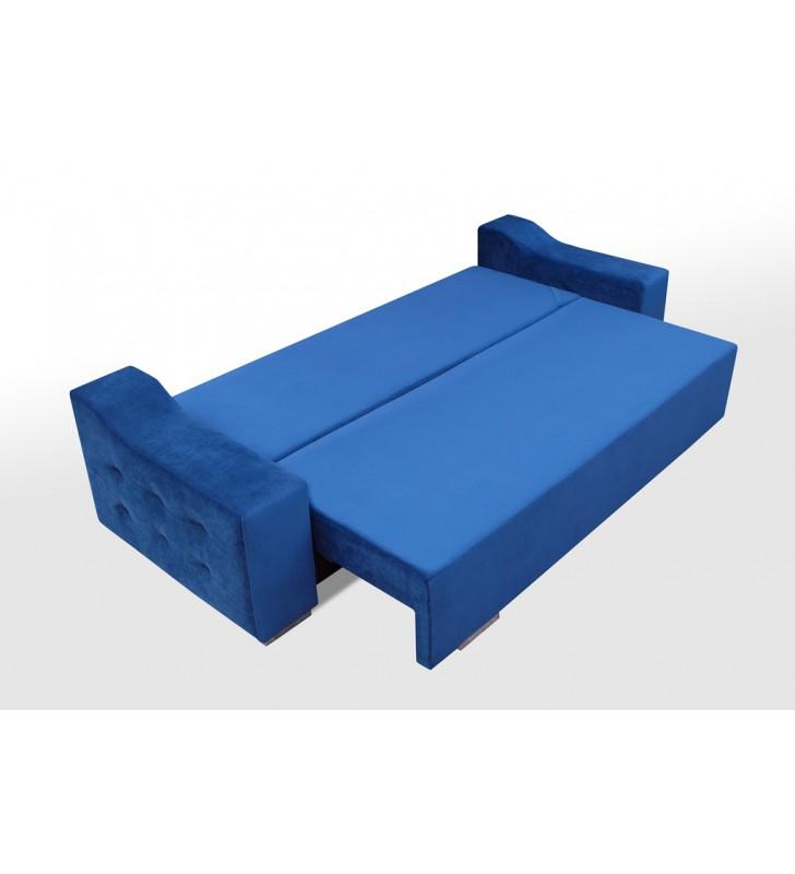 Niebieska, rozkładana sofa z pojemnikiem na pościel Cezar