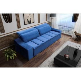 Niebieska, rozkładana sofa z pojemnikiem na pościel KS15r81
