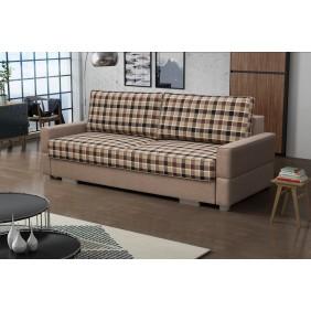 Beżowa, rozkładana sofa z pojemnikiem na pościel KS16f4Ai23