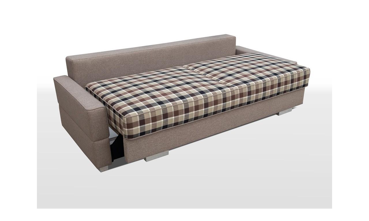 Beżowa, rozkładana sofa z pojemnikiem na pościel Suzi