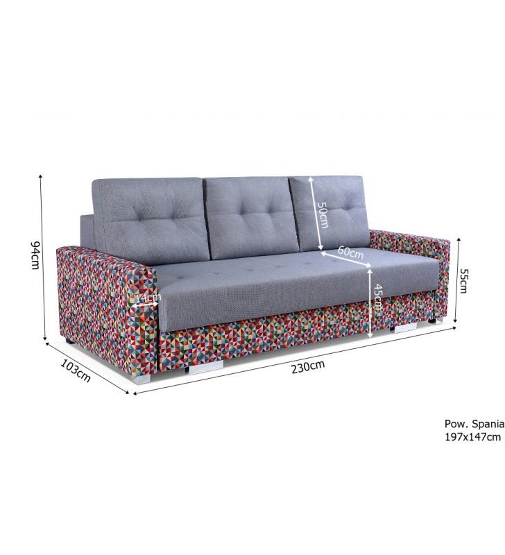 Szara, rozkładana sofa z pojemnikiem na pościel Sai