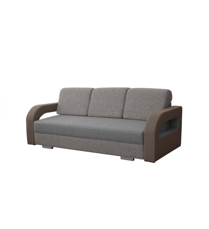 Szara, rozkładana sofa z pojemnikiem na pościel Laura soft11