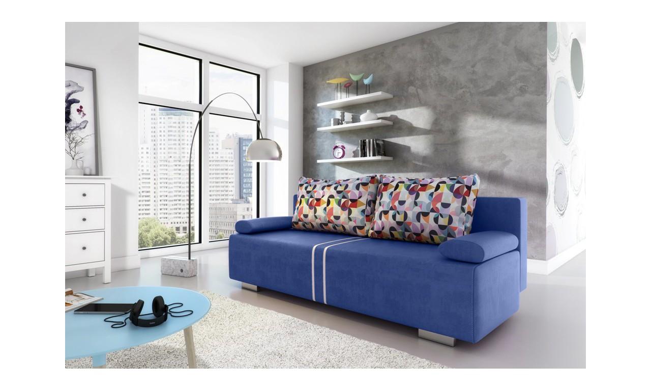 Niebieska, rozkładana sofa z pojemnikiem na pościel Malina