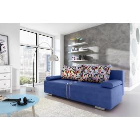 Niebieska, rozkładana sofa z pojemnikiem na pościel KS1a29