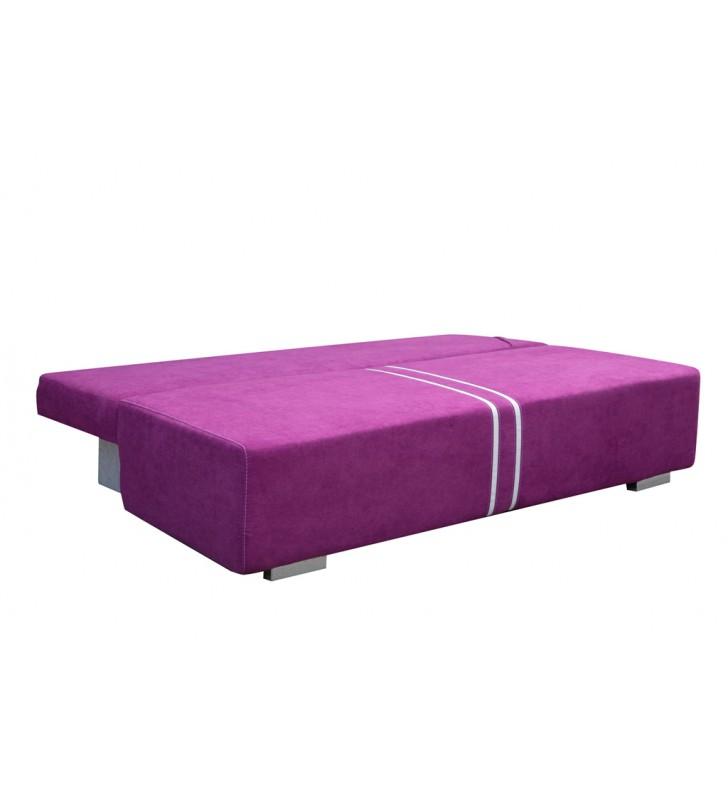 Fioletowa, rozkładana sofa z pojemnikiem na pościel Malina