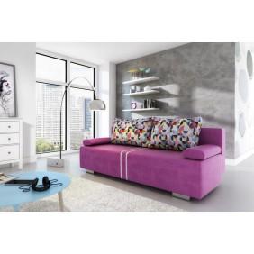 Fioletowa, rozkładana sofa z pojemnikiem na pościel KS1a11