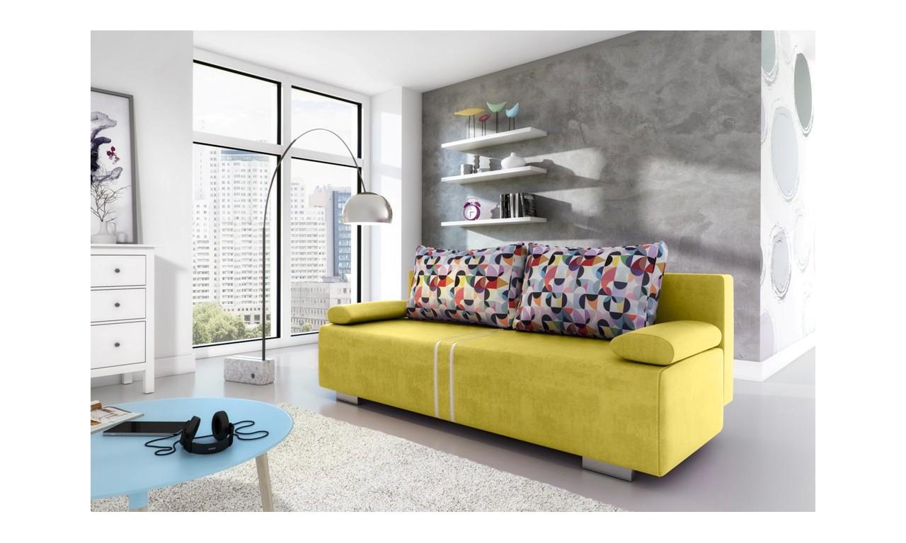 Żółta, rozkładana sofa z pojemnikiem na pościel Malina
