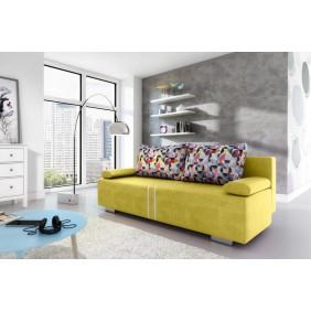 Żółta, rozkładana sofa z pojemnikiem na pościel KS1a12