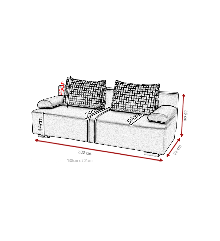 Jasnoszara, rozkładana sofa z pojemnikiem na pościel Malina