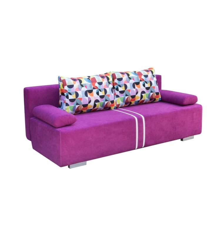 Szara, rozkładana sofa z pojemnikiem na pościel Malina