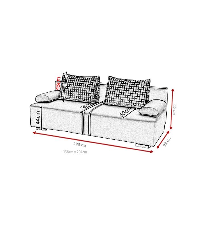 Czarna, rozkładana sofa z pojemnikiem na pościel Malina
