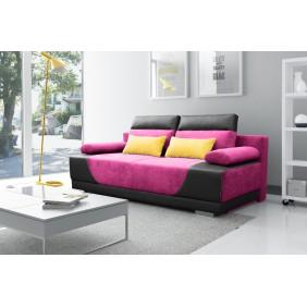 Fioletowa, rozkładana sofa z pojemnikiem na pościel KS3a11s11