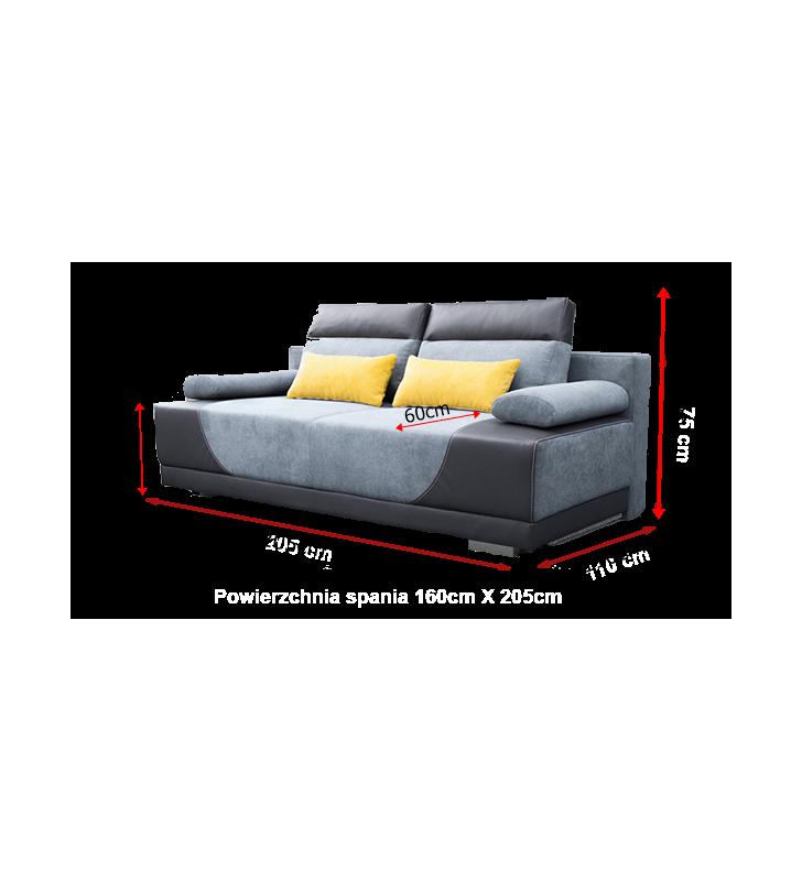Fioletowa, rozkładana sofa z pojemnikiem na pościel Gregory