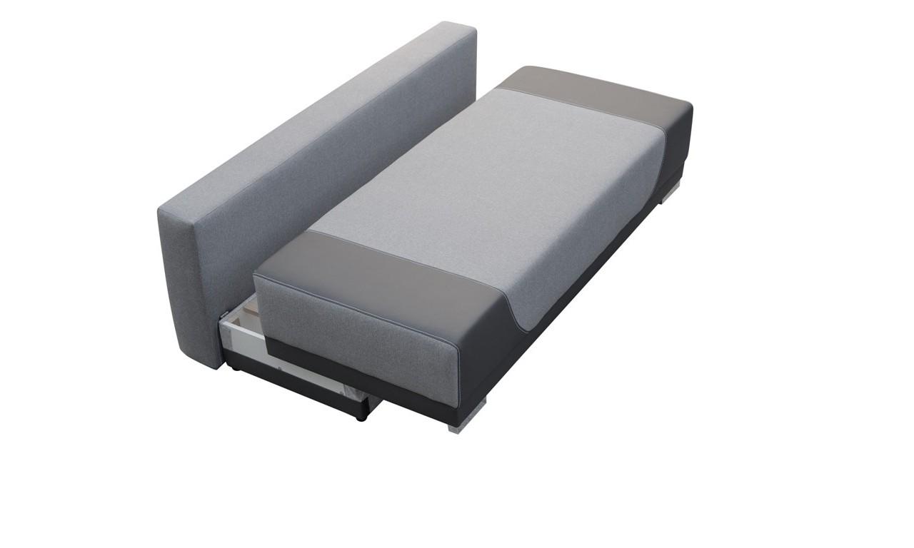 Szara, rozkładana sofa z pojemnikiem na pościel Gregory