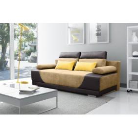 Beżowa, rozkładana sofa z pojemnikiem na pościel KS3a23s066