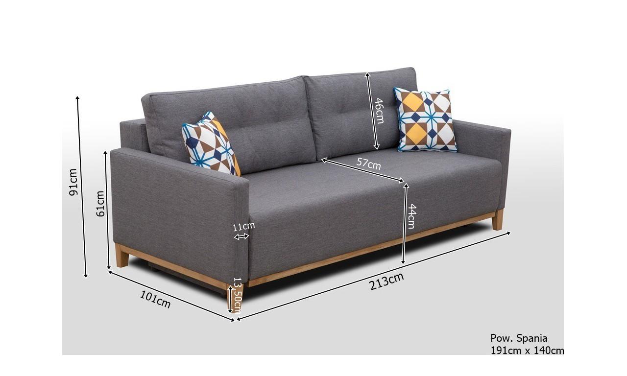 Szara, rozkładana sofa z pojemnikiem na pościel Ariel inari94