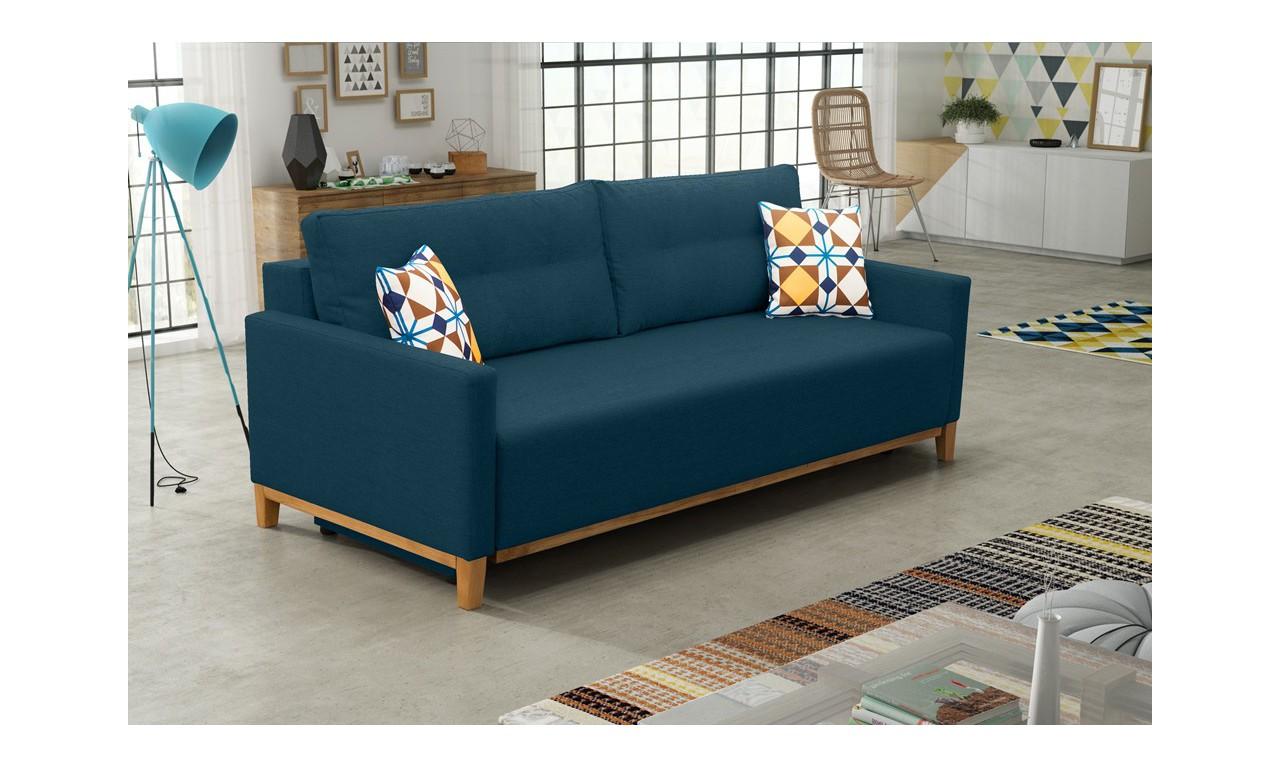 Niebieska, rozkładana sofa z pojemnikiem na pościel Ariel malmo81
