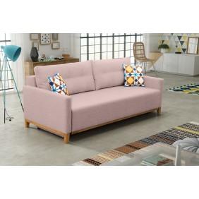 Różowa, rozkładana sofa z pojemnikiem na pościel KS5m61